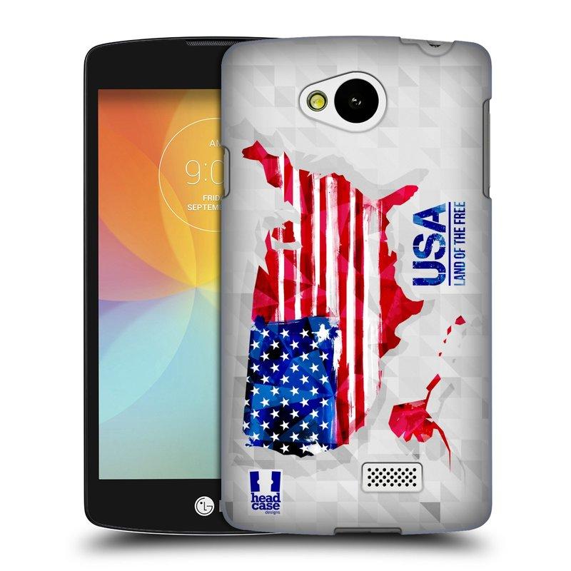 Plastové pouzdro na mobil LG F60 HEAD CASE GEOMAPA USA (Kryt či obal na mobilní telefon LG F60 D390n)