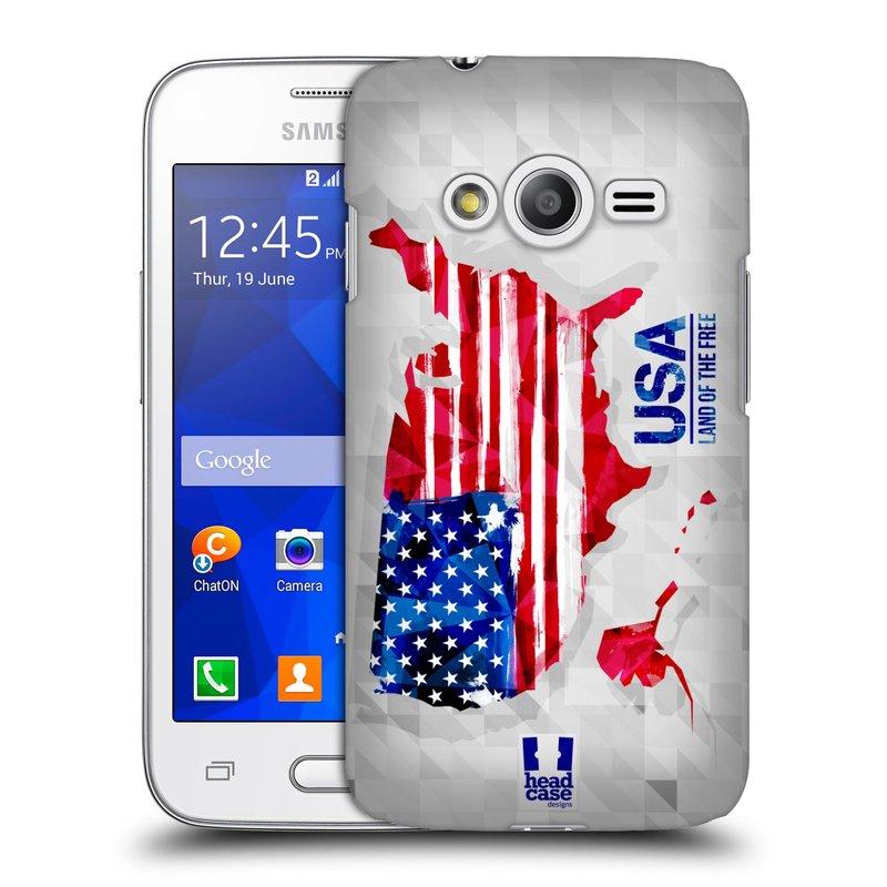 Plastové pouzdro na mobil Samsung Galaxy Trend 2 Lite HEAD CASE GEOMAPA USA (Kryt či obal na mobilní telefon Samsung Galaxy Trend 2 Lite SM-G318)
