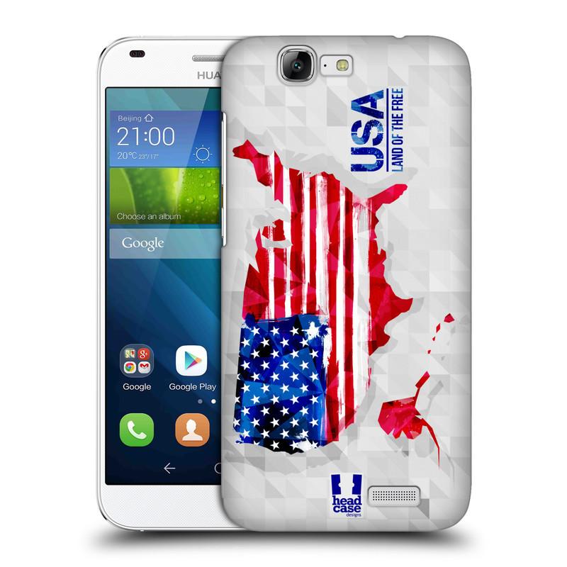 Plastové pouzdro na mobil Huawei Ascend G7 HEAD CASE GEOMAPA USA (Kryt či obal na mobilní telefon Huawei Ascend G7)