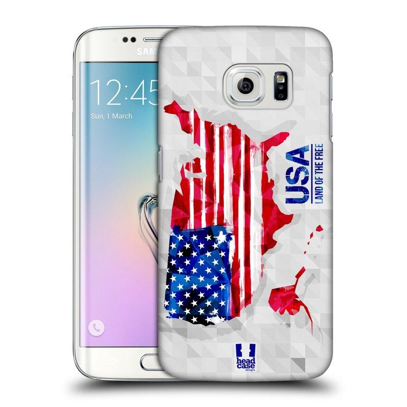 Plastové pouzdro na mobil Samsung Galaxy S6 Edge HEAD CASE GEOMAPA USA (Kryt či obal na mobilní telefon Samsung Galaxy S6 Edge SM-G925F)