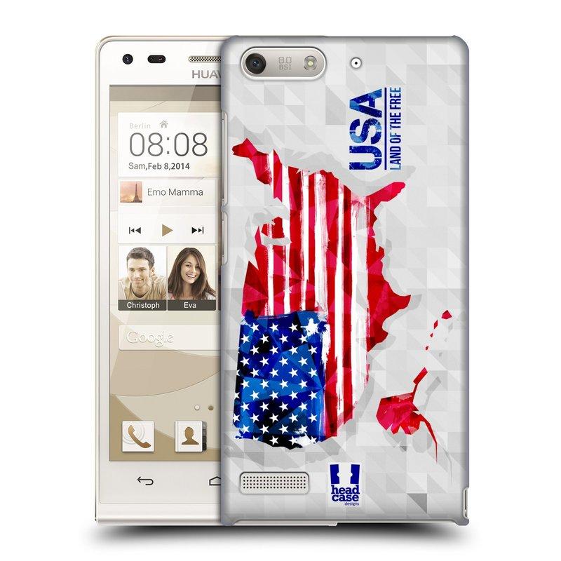 Plastové pouzdro na mobil Huawei Ascend G6 HEAD CASE GEOMAPA USA (Kryt či obal na mobilní telefon Huawei Ascend G6 bez LTE)