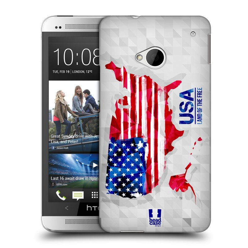 Plastové pouzdro na mobil HTC ONE M7 HEAD CASE GEOMAPA USA (Kryt či obal na mobilní telefon HTC ONE M7)