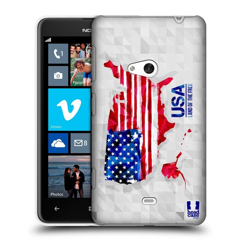 Plastové pouzdro na mobil Nokia Lumia 625 HEAD CASE GEOMAPA USA (Kryt či obal na mobilní telefon Nokia Lumia 625)