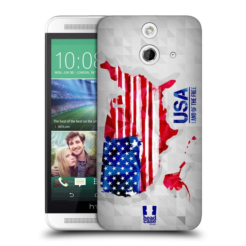 Plastové pouzdro na mobil HTC ONE E8 HEAD CASE GEOMAPA USA (Kryt či obal na mobilní telefon HTC ONE E8)