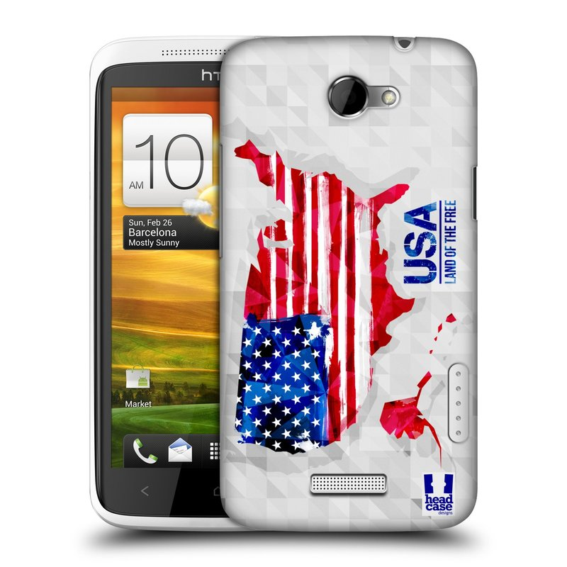 Plastové pouzdro na mobil HTC ONE X HEAD CASE GEOMAPA USA (Kryt či obal na mobilní telefon HTC ONE X)
