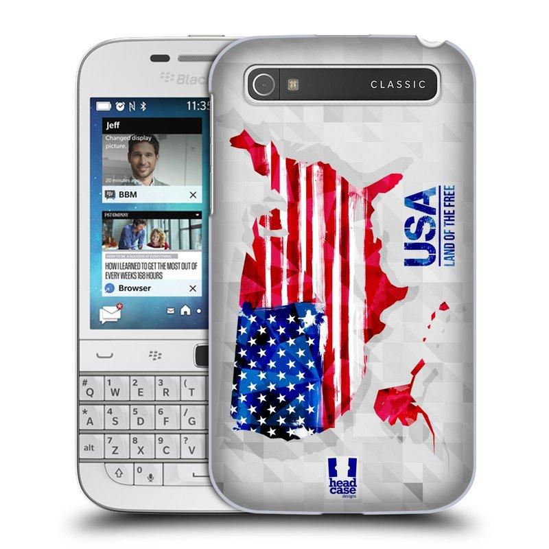Plastové pouzdro na mobil Blackberry Classic HEAD CASE GEOMAPA USA (Kryt či obal na mobilní telefon Blackberry Classic)