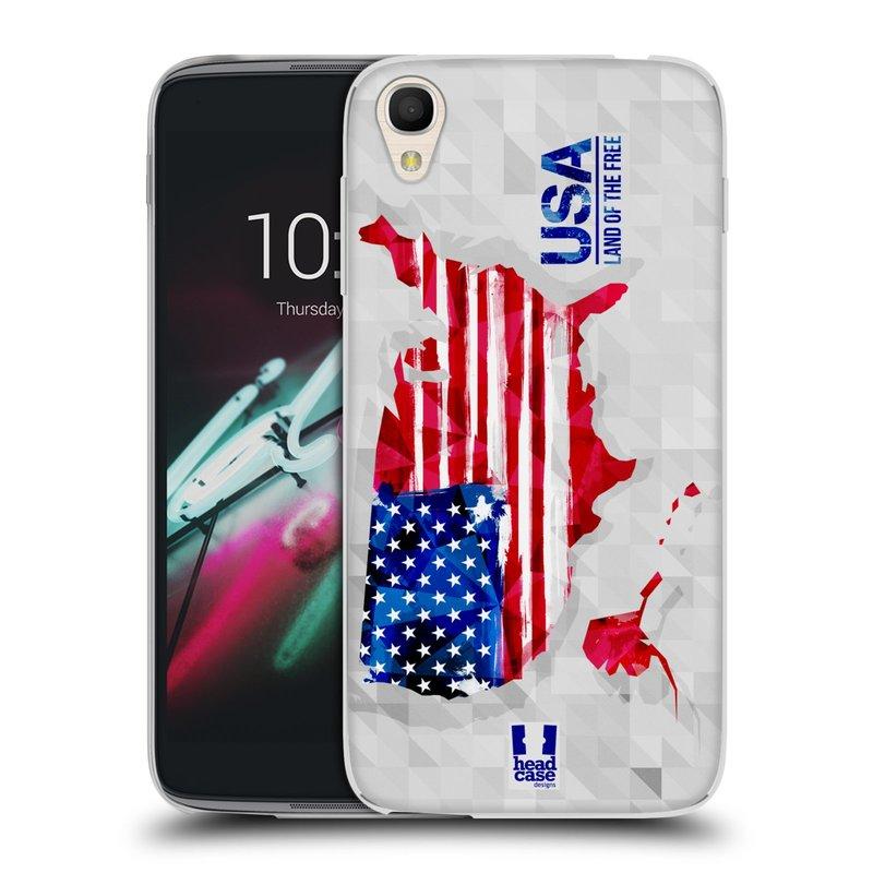 "Silikonové pouzdro na mobil Alcatel One Touch 6039Y Idol 3 HEAD CASE GEOMAPA USA (Silikonový kryt či obal na mobilní telefon Alcatel One Touch Idol 3 OT-6039Y s 4,7"" displejem)"