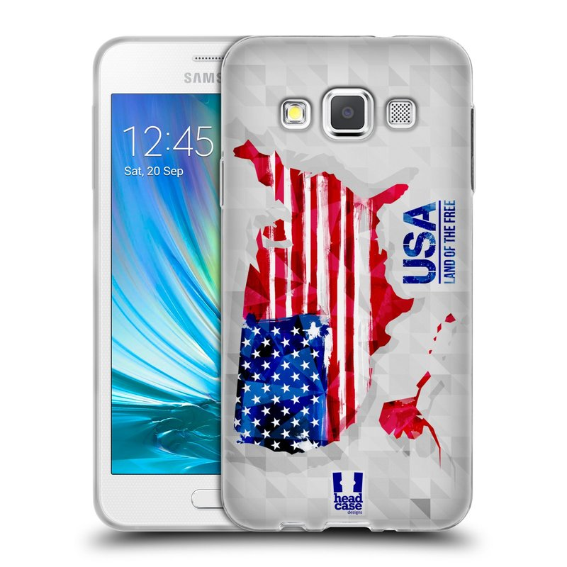 Silikonové pouzdro na mobil Samsung Galaxy A3 HEAD CASE GEOMAPA USA (Silikonový kryt či obal na mobilní telefon Samsung Galaxy A3 SM-A300)