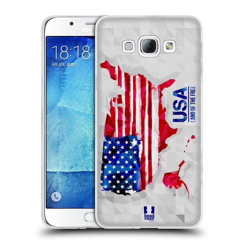 Silikonové pouzdro na mobil Samsung Galaxy A8 HEAD CASE GEOMAPA USA (Silikonový kryt či obal na mobilní telefon Samsung Galaxy A8 SM-A800)