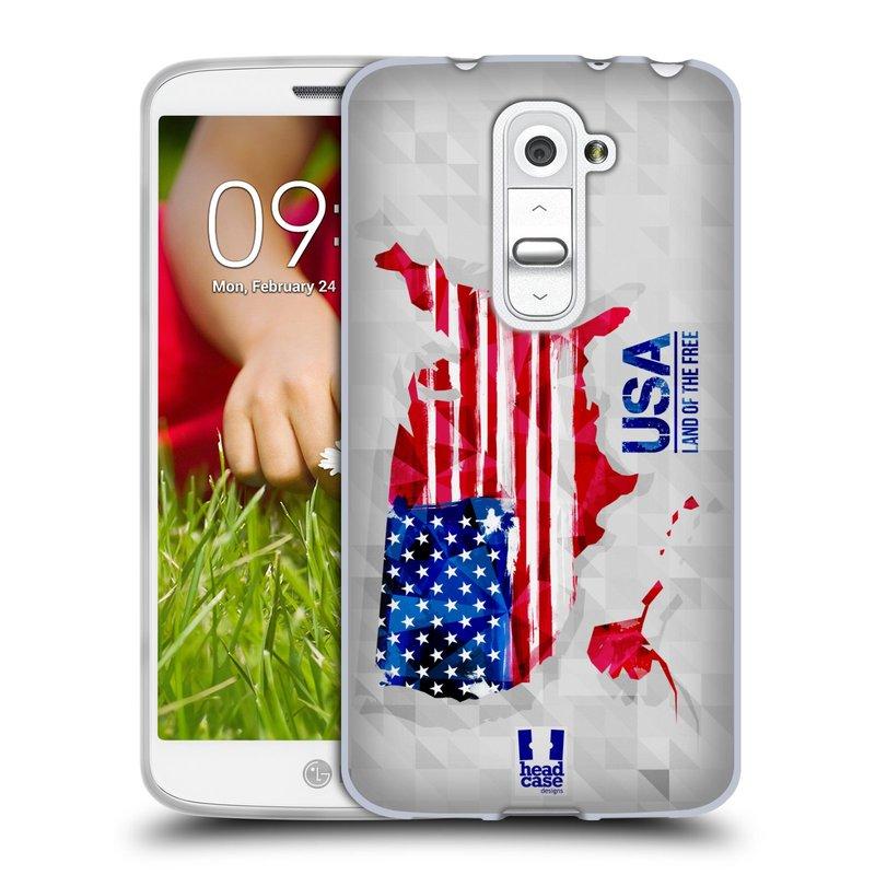 Silikonové pouzdro na mobil LG G2 Mini HEAD CASE GEOMAPA USA (Silikonový kryt či obal na mobilní telefon LG G2 Mini D620)