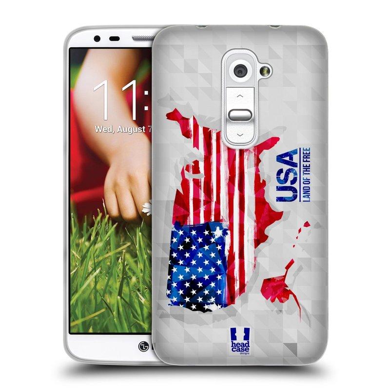 Silikonové pouzdro na mobil LG G2 HEAD CASE GEOMAPA USA (Silikonový kryt či obal na mobilní telefon LG G2 D802)