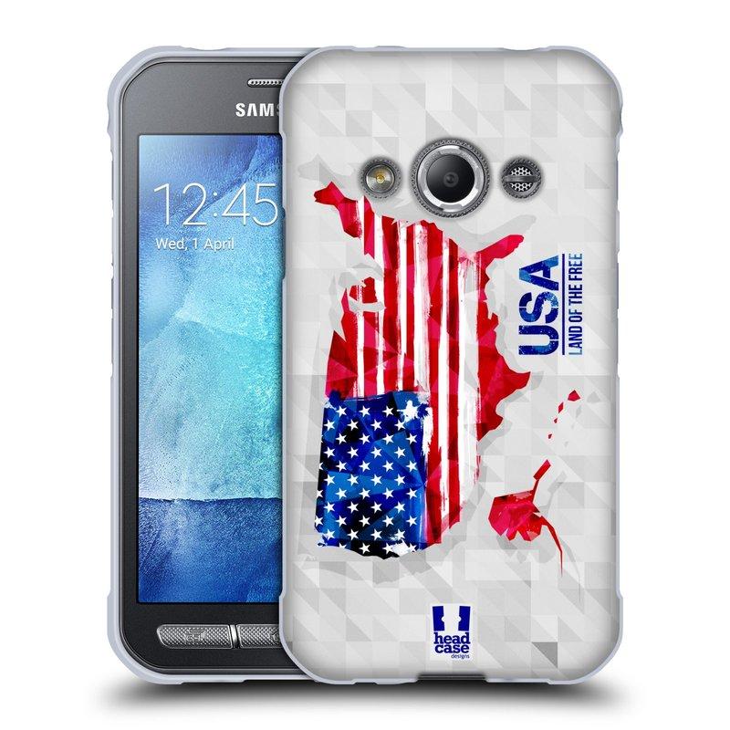 Silikonové pouzdro na mobil Samsung Galaxy Xcover 3 HEAD CASE GEOMAPA USA (Silikonový kryt či obal na mobilní telefon Samsung Galaxy Xcover 3 SM-G388F)
