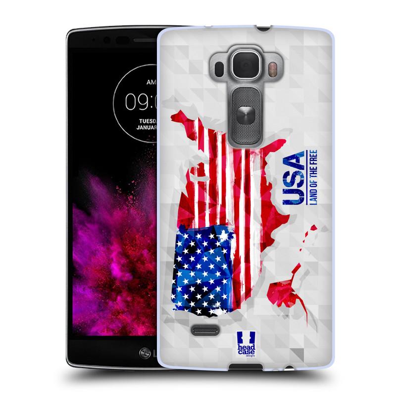 Silikonové pouzdro na mobil LG G Flex 2 HEAD CASE GEOMAPA USA (Silikonový kryt či obal na mobilní telefon LG G Flex 2 H955)