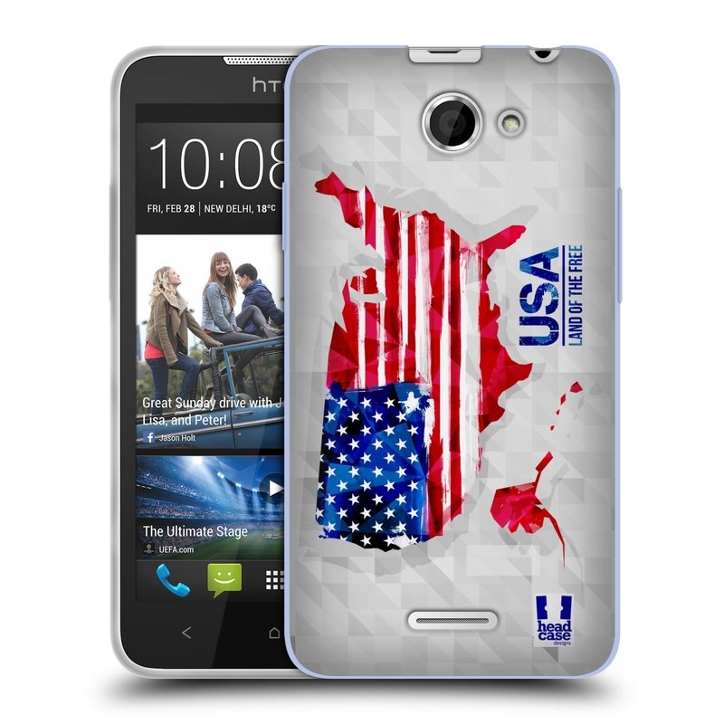 Silikonové pouzdro na mobil HTC Desire 516 HEAD CASE GEOMAPA USA (Silikonový kryt či obal na mobilní telefon HTC Desire 516 Dual SIM)