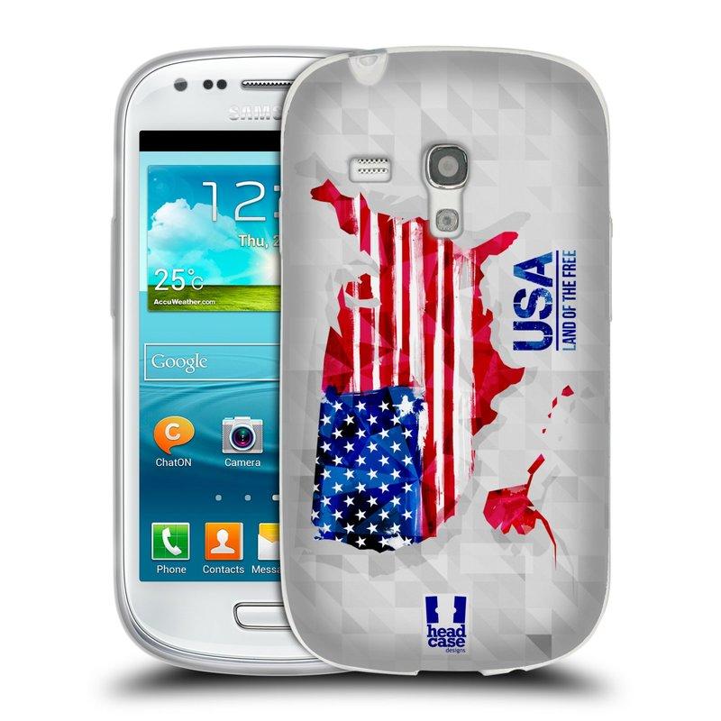 Silikonové pouzdro na mobil Samsung Galaxy S III Mini HEAD CASE GEOMAPA USA (Silikonový kryt či obal na mobilní telefon Samsung Galaxy S III Mini GT-i8190)