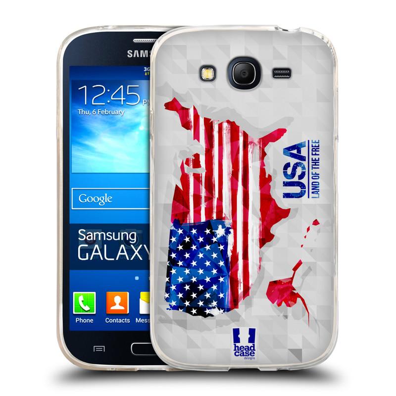 Silikonové pouzdro na mobil Samsung Galaxy Grand Neo HEAD CASE GEOMAPA USA (Silikonový kryt či obal na mobilní telefon Samsung Galaxy Grand Neo GT-I9060)