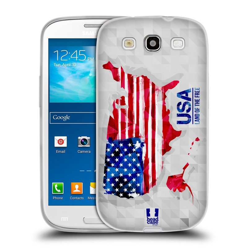 Silikonové pouzdro na mobil Samsung Galaxy S III HEAD CASE GEOMAPA USA (Silikonový kryt či obal na mobilní telefon Samsung Galaxy S III GT-i9300)