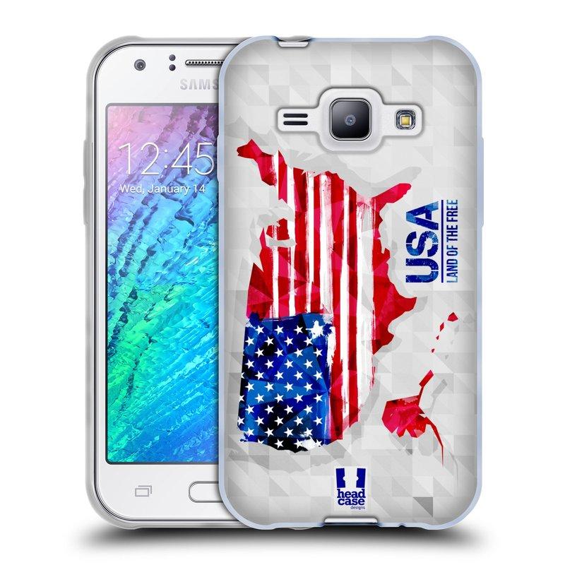 Silikonové pouzdro na mobil Samsung Galaxy J1 HEAD CASE GEOMAPA USA (Silikonový kryt či obal na mobilní telefon Samsung Galaxy J1 a J1 Duos)
