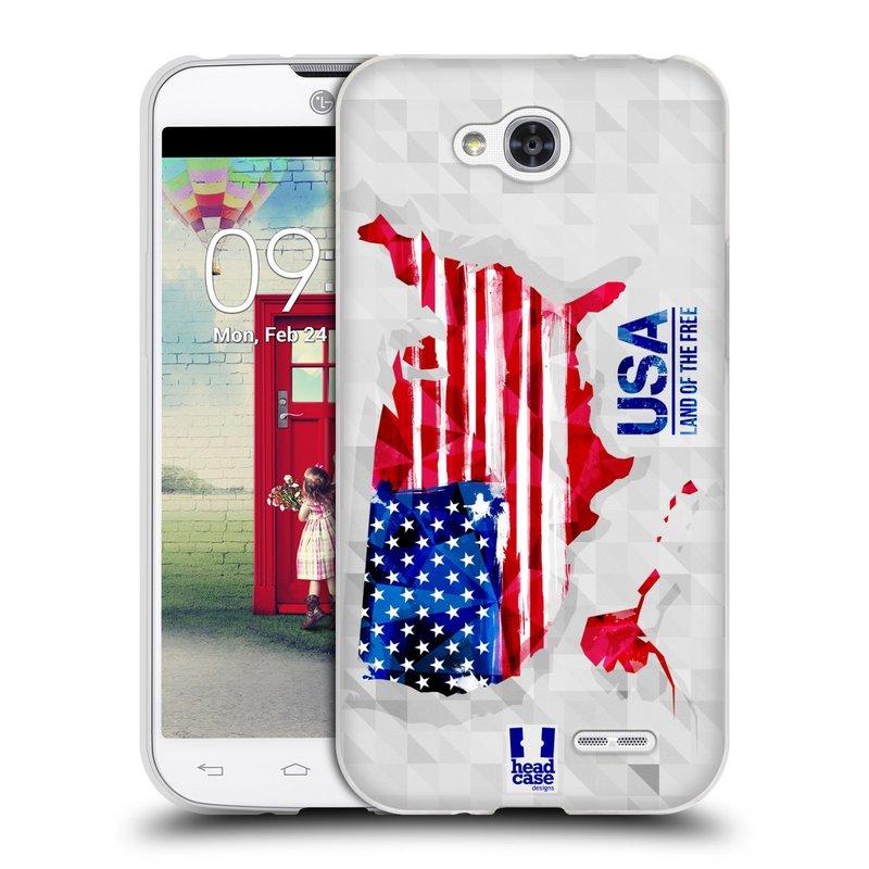 Silikonové pouzdro na mobil LG L90 HEAD CASE GEOMAPA USA (Silikonový kryt či obal na mobilní telefon LG L90 D405n)