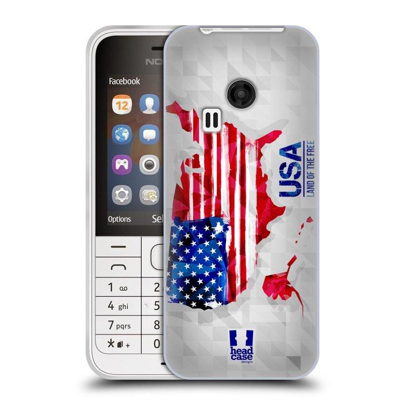 Silikonové pouzdro na mobil Nokia 220 HEAD CASE GEOMAPA USA (Silikonový kryt či obal na mobilní telefon Nokia 220 a 220 Dual SIM)