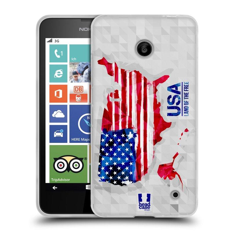 Silikonové pouzdro na mobil Nokia Lumia 630 HEAD CASE GEOMAPA USA (Silikonový kryt či obal na mobilní telefon Nokia Lumia 630 a Nokia Lumia 630 Dual SIM)