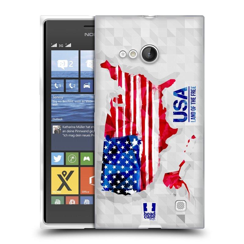 Silikonové pouzdro na mobil Nokia Lumia 730 Dual SIM HEAD CASE GEOMAPA USA (Silikonový kryt či obal na mobilní telefon Nokia Lumia 730 Dual SIM)