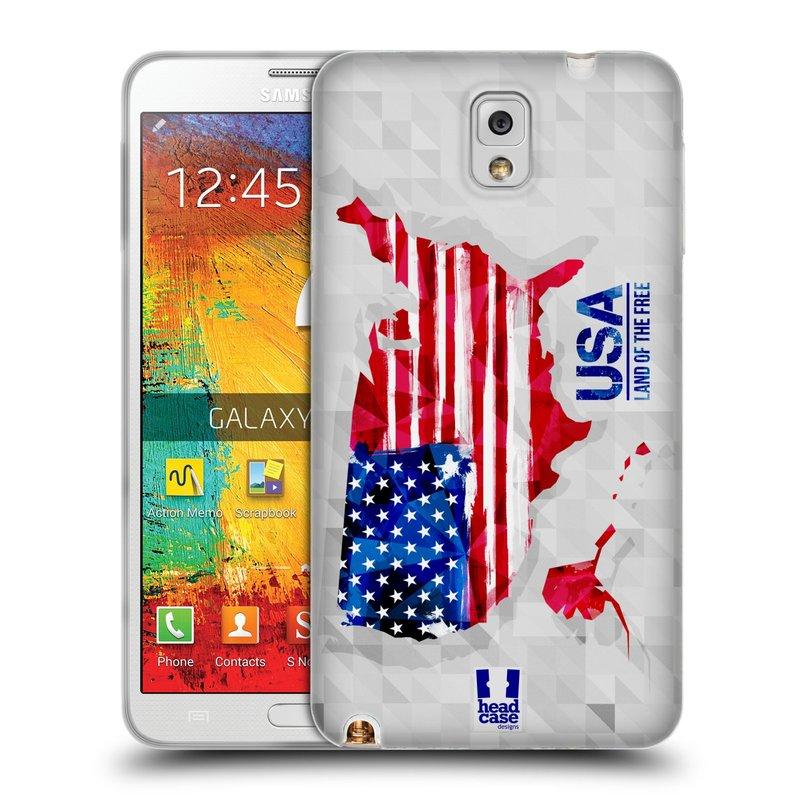 Silikonové pouzdro na mobil Samsung Galaxy Note 3 HEAD CASE GEOMAPA USA (Silikonový kryt či obal na mobilní telefon Samsung Galaxy Note 3 SM-N9005)