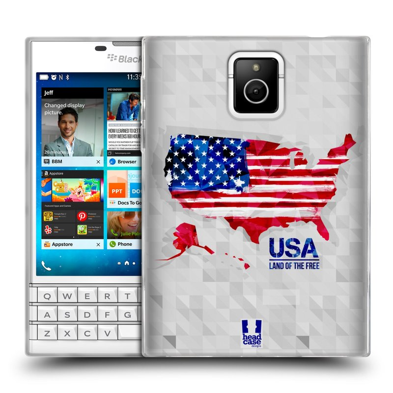 Silikonové pouzdro na mobil Blackberry PASSPORT HEAD CASE GEOMAPA USA (Silikonový kryt či obal na mobilní telefon Blackberry PASSPORT)