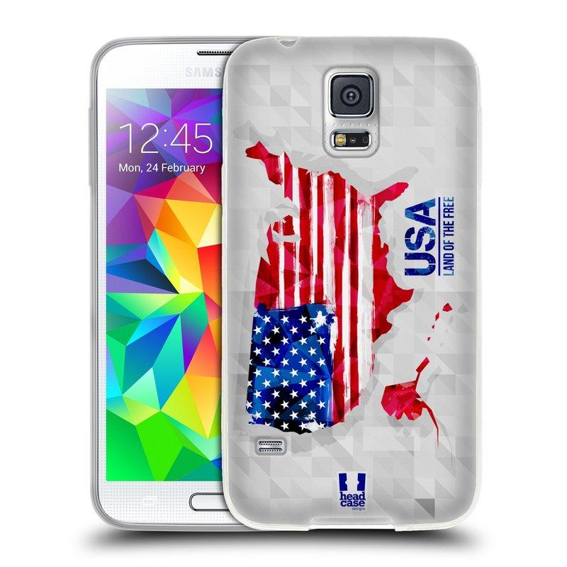 Silikonové pouzdro na mobil Samsung Galaxy S5 HEAD CASE GEOMAPA USA (Silikonový kryt či obal na mobilní telefon Samsung Galaxy S5 SM-G900F)