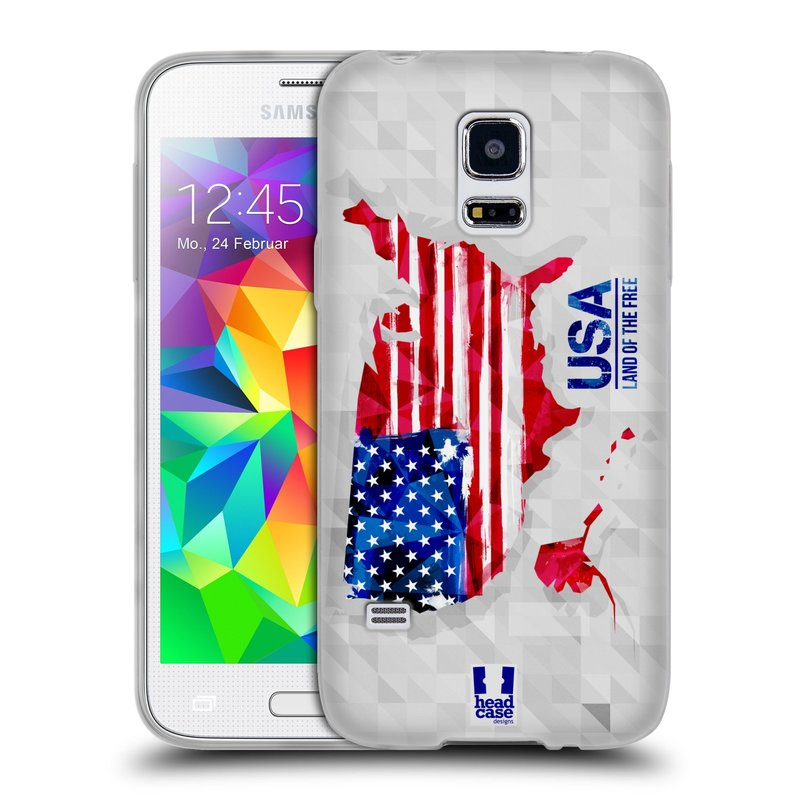 Silikonové pouzdro na mobil Samsung Galaxy S5 Mini HEAD CASE GEOMAPA USA (Silikonový kryt či obal na mobilní telefon Samsung Galaxy S5 Mini SM-G800F)
