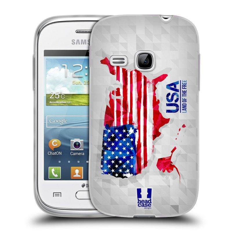 Silikonové pouzdro na mobil Samsung Galaxy Young HEAD CASE GEOMAPA USA (Silikonový kryt či obal na mobilní telefon Samsung Galaxy Young GT-S6310)