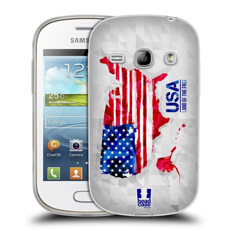 Silikonové pouzdro na mobil Samsung Galaxy Fame HEAD CASE GEOMAPA USA (Silikonový kryt či obal na mobilní telefon Samsung Galaxy Fame GT-S6810)