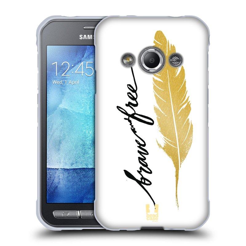 Silikonové pouzdro na mobil Samsung Galaxy Xcover 3 HEAD CASE PÍRKO ZLATÉ FREE (Silikonový kryt či obal na mobilní telefon Samsung Galaxy Xcover 3 SM-G388F)