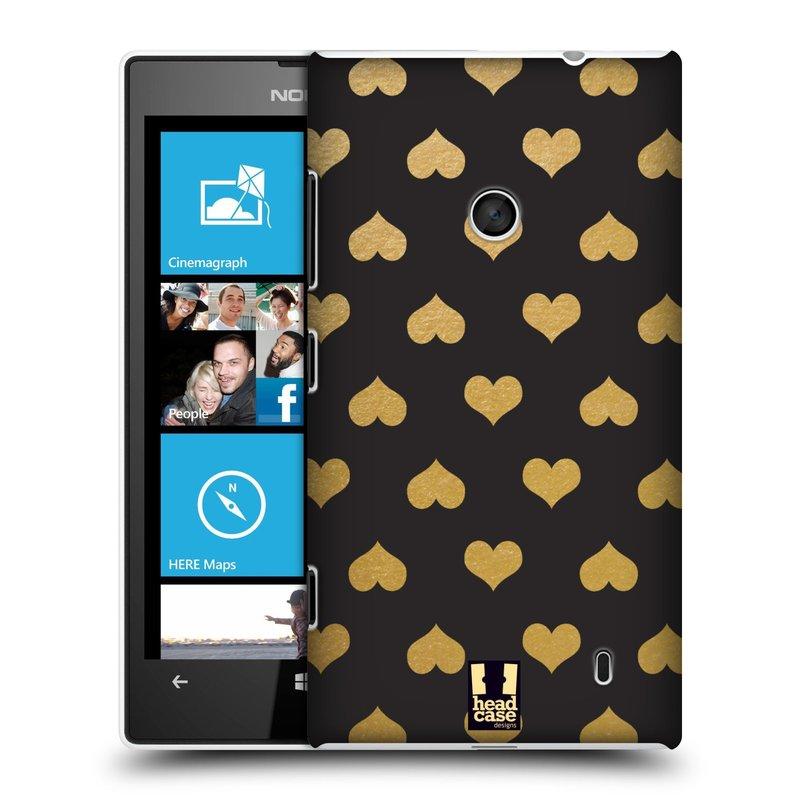 Plastové pouzdro na mobil Nokia Lumia 520 HEAD CASE ZLATÁ SRDÍČKA (Kryt či obal na mobilní telefon Nokia Lumia 520 )