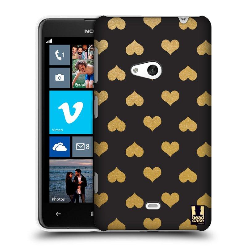 Plastové pouzdro na mobil Nokia Lumia 625 HEAD CASE ZLATÁ SRDÍČKA (Kryt či obal na mobilní telefon Nokia Lumia 625)