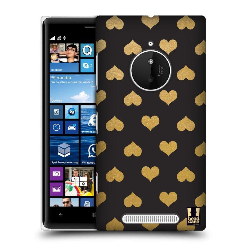 Plastové pouzdro na mobil Nokia Lumia 830 HEAD CASE ZLATÁ SRDÍČKA (Kryt či obal na mobilní telefon Nokia Lumia 830)