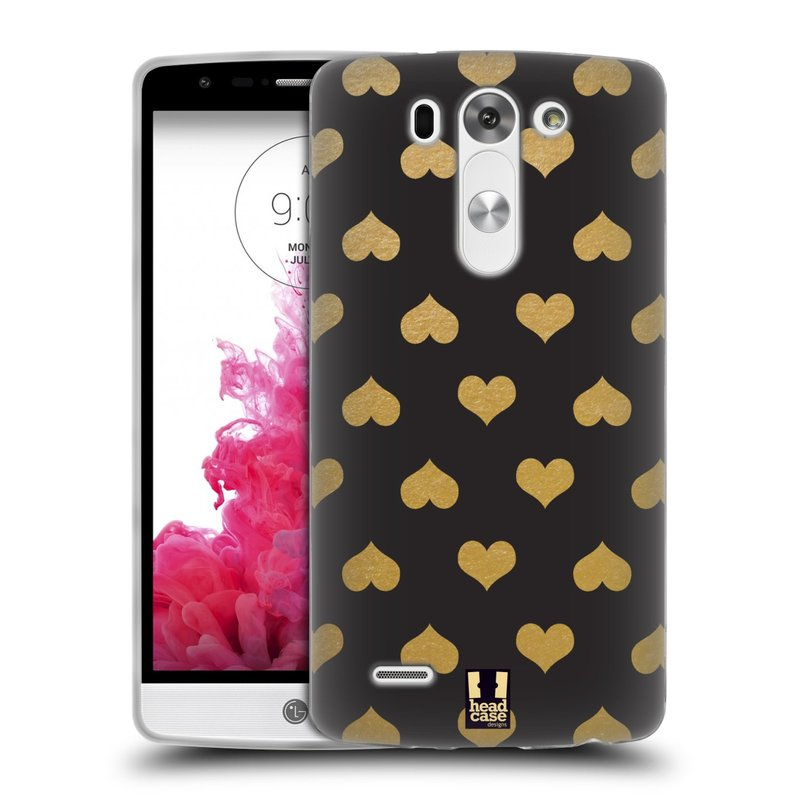 Silikonové pouzdro na mobil LG G3s HEAD CASE ZLATÁ SRDÍČKA (Silikonový kryt či obal na mobilní telefon LG G3s D722)