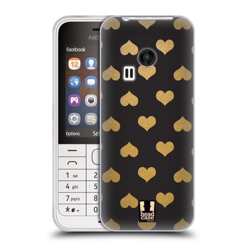 Silikonové pouzdro na mobil Nokia 220 HEAD CASE ZLATÁ SRDÍČKA (Silikonový kryt či obal na mobilní telefon Nokia 220 a 220 Dual SIM)