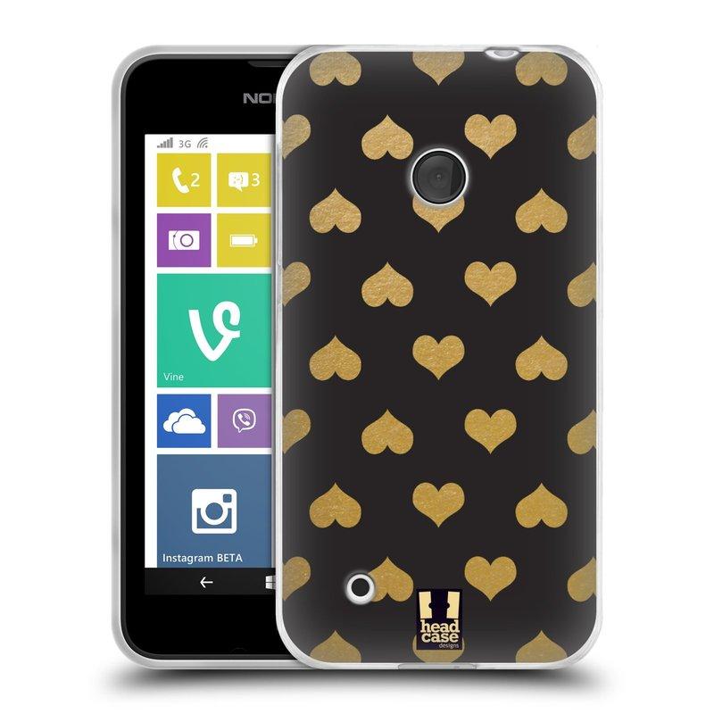 Silikonové pouzdro na mobil Nokia Lumia 530 HEAD CASE ZLATÁ SRDÍČKA (Silikonový kryt či obal na mobilní telefon Nokia Lumia 530)