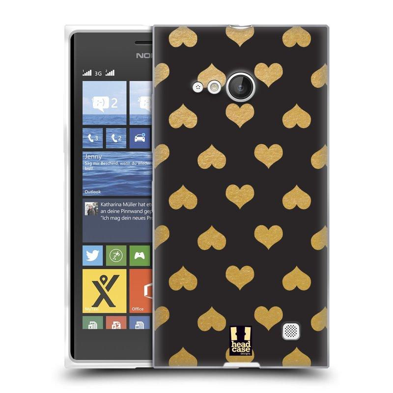 Silikonové pouzdro na mobil Nokia Lumia 735 HEAD CASE ZLATÁ SRDÍČKA (Silikonový kryt či obal na mobilní telefon Nokia Lumia 735)