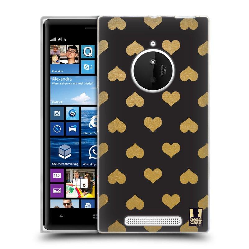 Silikonové pouzdro na mobil Nokia Lumia 830 HEAD CASE ZLATÁ SRDÍČKA (Silikonový kryt či obal na mobilní telefon Nokia Lumia 830)