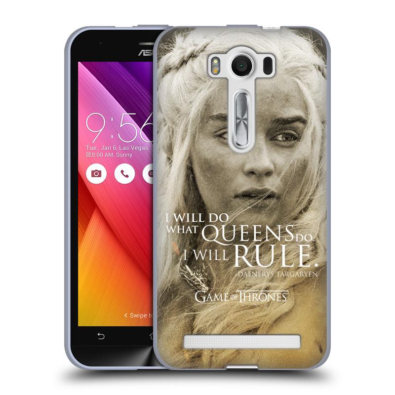 """Silikonové pouzdro na mobil Asus ZenFone 2 Laser ZE500KL HEAD CASE Hra o trůny - Daenerys Targaryen (Silikonový kryt či obal na mobilní telefon s licencovaným motivem Hra o trůny - Game Of Thrones pro Asus ZenFone 2 Laser ZE500KL s 5"""" displejem)"""