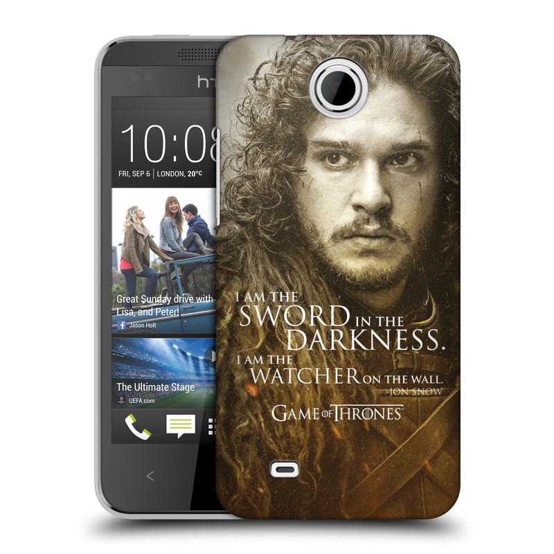 Plastové pouzdro na mobil HTC Desire 300 HEAD CASE Hra o trůny - Jon Snow (Plastový kryt či obal na mobilní telefon s licencovaným motivem Hra o trůny - Game Of Thrones pro HTC Desire 300)