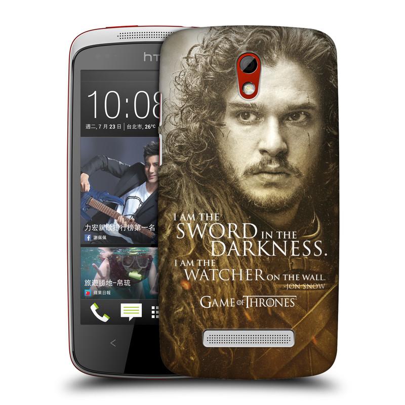 Plastové pouzdro na mobil HTC Desire 500 HEAD CASE Hra o trůny - Jon Snow (Plastový kryt či obal na mobilní telefon s licencovaným motivem Hra o trůny - Game Of Thrones pro HTC Desire 500)