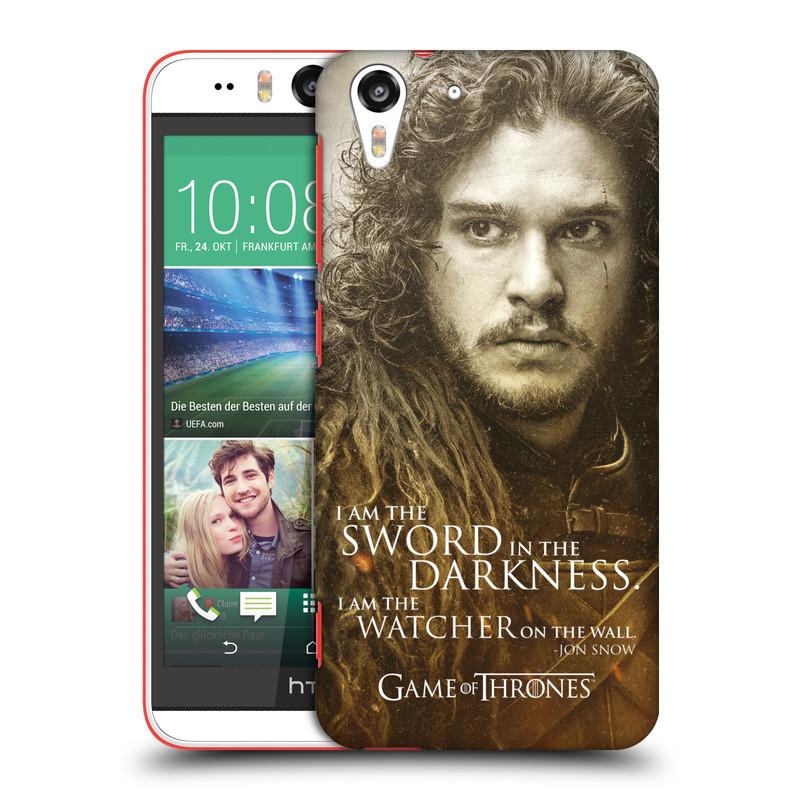 Plastové pouzdro na mobil HTC Desire EYE HEAD CASE Hra o trůny - Jon Snow (Plastový kryt či obal na mobilní telefon s licencovaným motivem Hra o trůny - Game Of Thrones pro HTC Desire EYE)