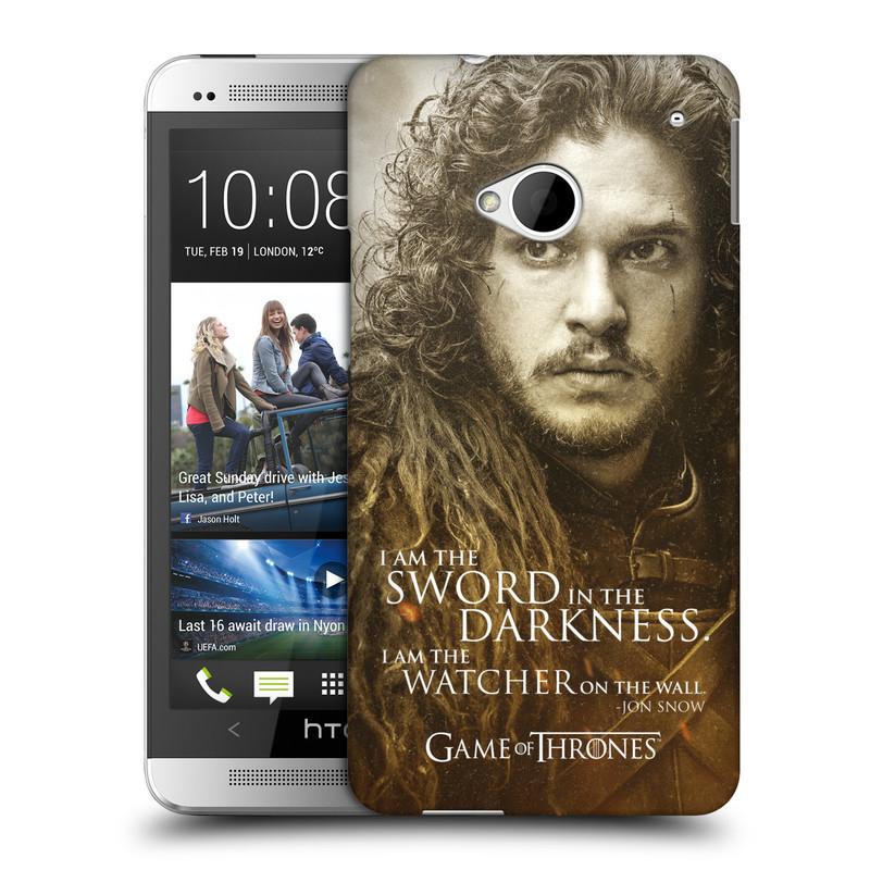 Plastové pouzdro na mobil HTC ONE M7 HEAD CASE Hra o trůny - Jon Snow (Plastový kryt či obal na mobilní telefon s licencovaným motivem Hra o trůny - Game Of Thrones pro HTC ONE M7)