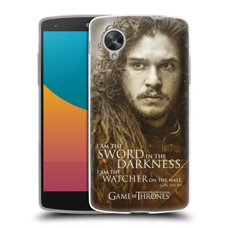 Silikonové pouzdro na mobil LG Nexus 5 HEAD CASE Hra o trůny - Jon Snow (Silikonový kryt či obal na mobilní telefon s licencovaným motivem Hra o trůny - Game Of Thrones pro LG Google Nexus 5 D821)