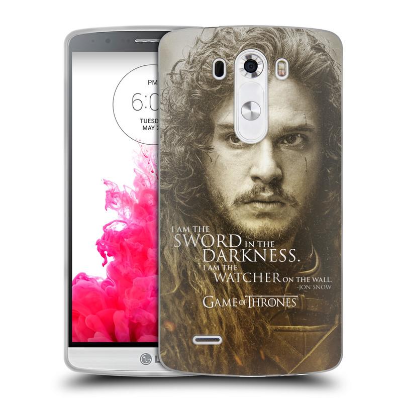 Silikonové pouzdro na mobil LG G3 HEAD CASE Hra o trůny - Jon Snow (Silikonový kryt či obal na mobilní telefon s licencovaným motivem Hra o trůny - Game Of Thrones pro LG G3)