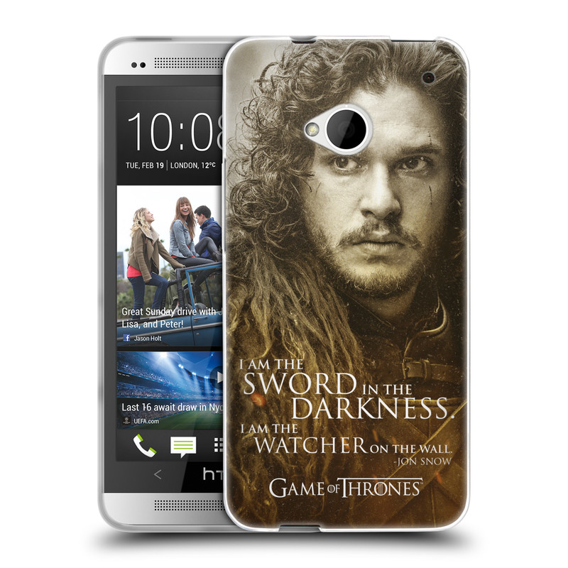 Silikonové pouzdro na mobil HTC ONE M7 HEAD CASE Hra o trůny - Jon Snow (Silikonový kryt či obal na mobilní telefon s licencovaným motivem Hra o trůny - Game Of Thrones pro HTC ONE M7)