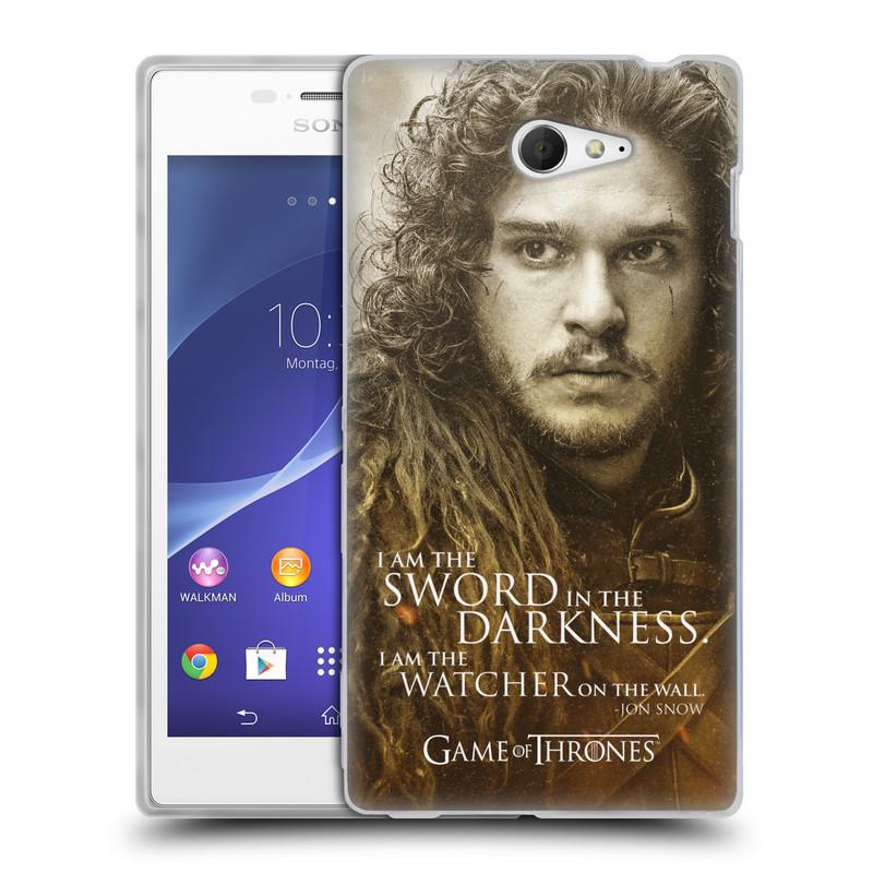 Silikonové pouzdro na mobil Sony Xperia M2 D2303 HEAD CASE Hra o trůny - Jon Snow (Silikonový kryt či obal na mobilní telefon s licencovaným motivem Hra o trůny - Game Of Thrones pro Sony Xperia M2)